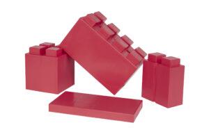 Seitenansicht von großem, halben, viertel Block und großer Platte, Farbe Rot