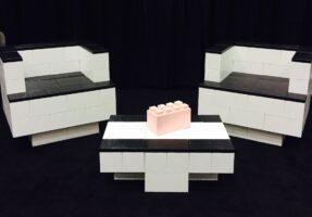 Verwenden Sie EverBlock, um kreative Eventmöbel, modulare Stühle und Blocktische zu bauen.