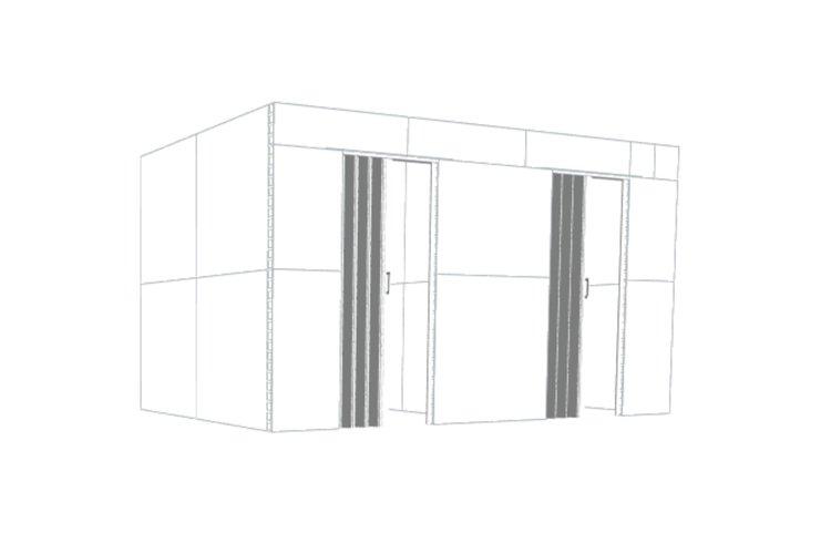 Doppelbüro mit schwebenden Wänden