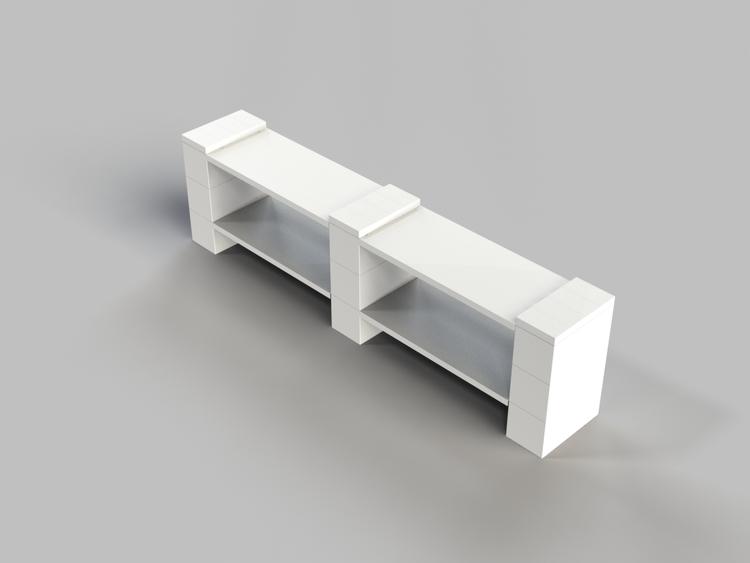 4 Böden Doppelregal - Flache Ausführung