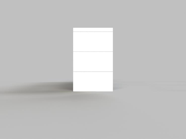 4 Böden Doppelregal - Flache Ausführung - Seitenansicht