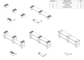 4 Böden Doppelregal - Flache Ausführung - Schritt-für-Schritt Instruktionen