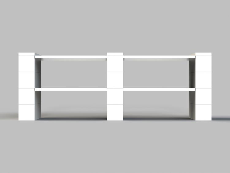 4 Böden Doppelregal - Front-/Rückansicht