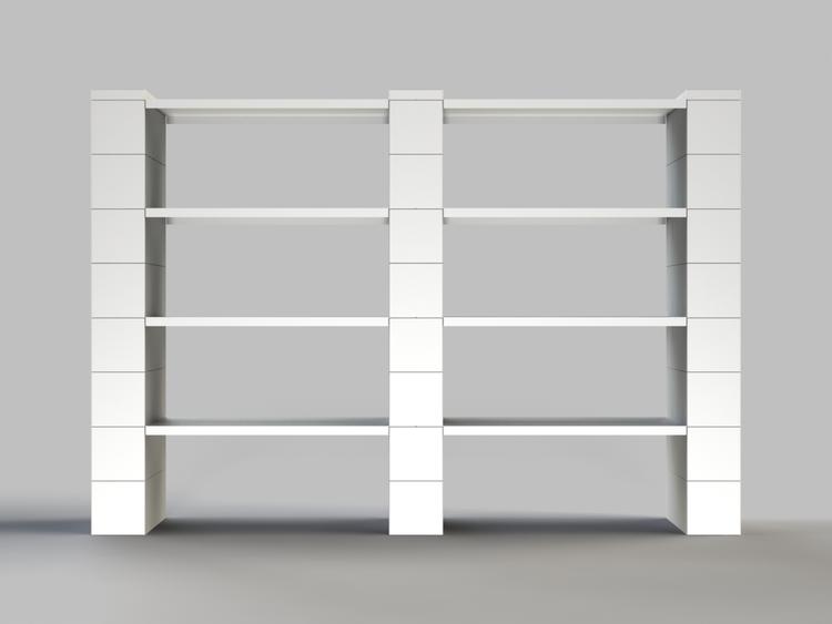 8 Böden Doppelregal - Front-/Rückansicht