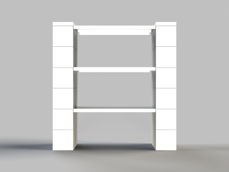 Regal mit 3 Ebenen - Front-/Rückansicht