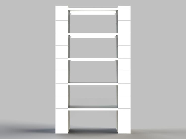 Regal mit 5 Ebenen - Front-/Rückansicht