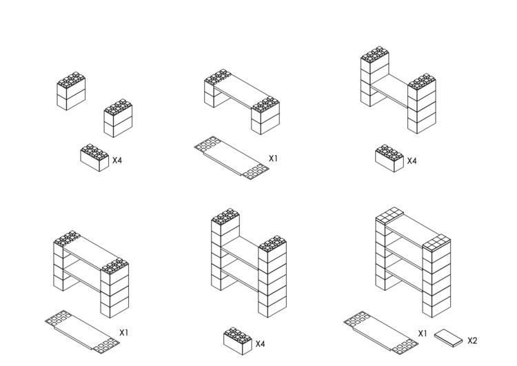 Regal mit 3 Ebenen - Schritt-für-Schritt Instruktionen