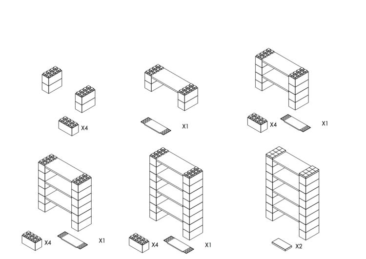 Regal mit 4 Ebenen - Schritt-für-Schritt Instruktionen