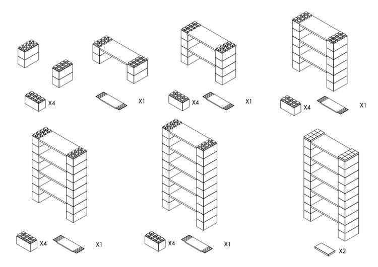 Regal mit 5 Ebenen - Schritt-für-Schritt Instruktionen