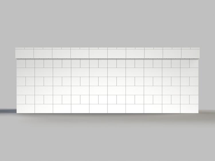 305 cm, obere Reihe vorne überstehend - Frontansicht
