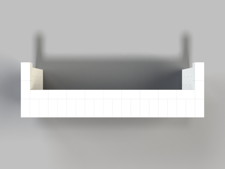 305 cm, obere Reihe vorne überstehend - Ansicht von oben