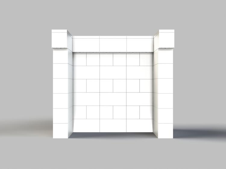 122 cm, obere Reihe vorne überstehend - Rückansicht