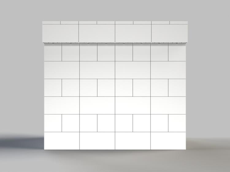 122 cm, obere Reihe vorne überstehend - Frontansicht