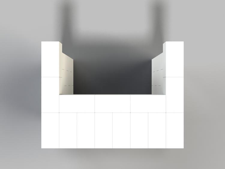 122 cm, obere Reihe vorne überstehend - Ansicht von oben