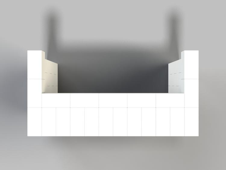 183 cm, obere Reihe vorne überstehend - Ansicht von oben