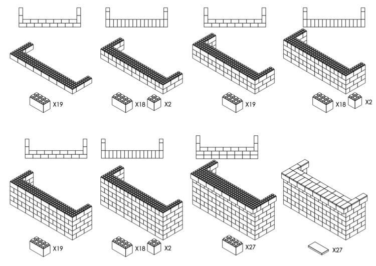 244 cm, obere Reihe vorne überstehend - Schritt-für-Schritt Instruktionen