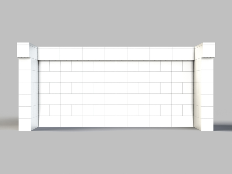 244 cm, obere Reihe vorne überstehend - Rückansicht