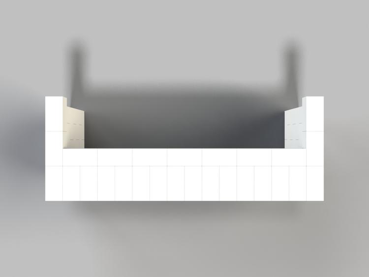 244 cm, obere Reihe vorne überstehend - Ansicht von oben