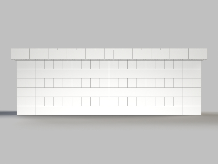 305 cm, obere Reihe rundum überstehend - Frontansicht