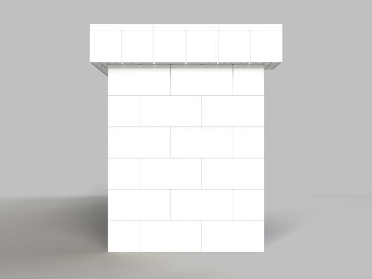 305 cm, obere Reihe rundum überstehend - Seitenansicht