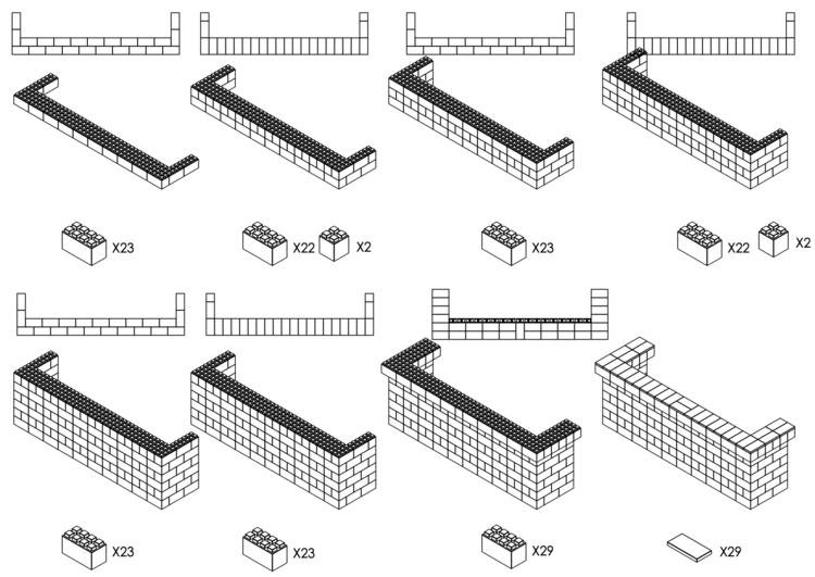 305 cm, obere Reihe rundum überstehend - Schritt-für-Schritt Instruktionen