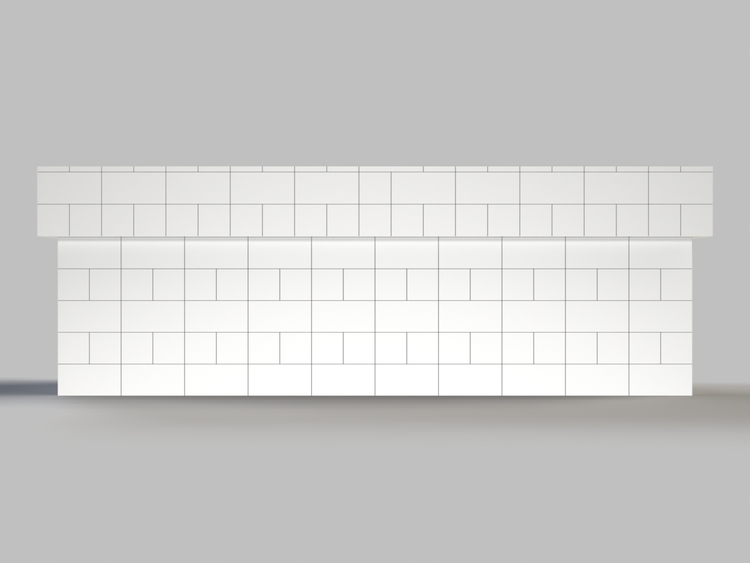 305 cm, obere 2 Reihen rundum überstehend - Frontansicht