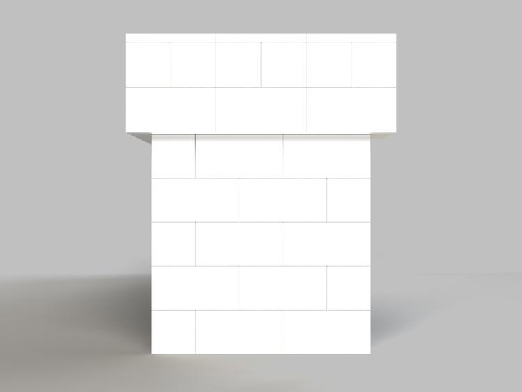305 cm, obere 2 Reihen rundum überstehend - Seitenansicht