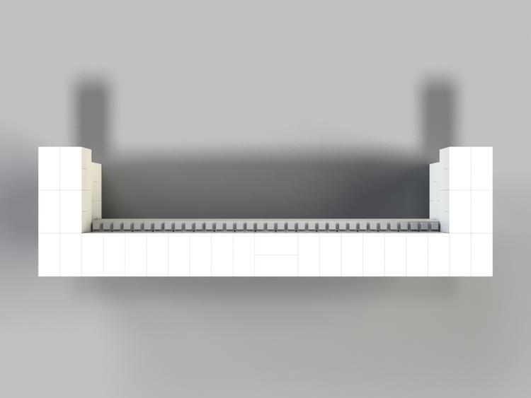 305 cm, obere 2 Reihen rundum überstehend - Ansicht von oben