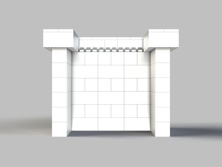 122 cm Bar / Tresen, obere Reihe rundum überstehend - Rückansicht