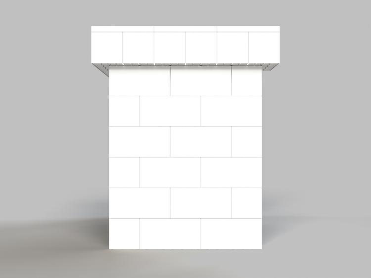 122 cm Bar / Tresen, obere Reihe rundum überstehend - Seitenansicht