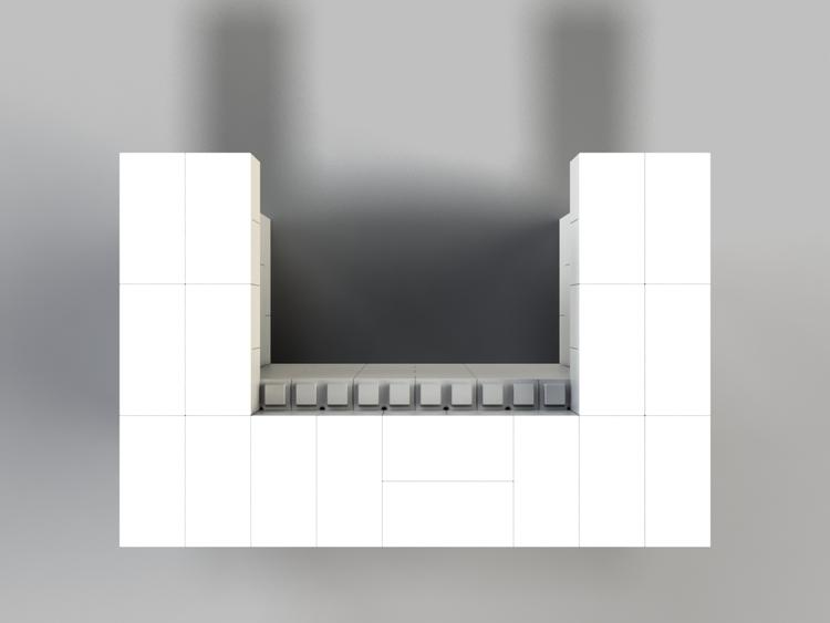122 cm Bar / Tresen, obere Reihe rundum überstehend - Ansicht von oben