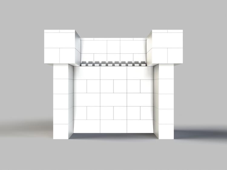 122 cm Bar/Tresen, obere 2 Reihen rundum überstehend - Rückansicht