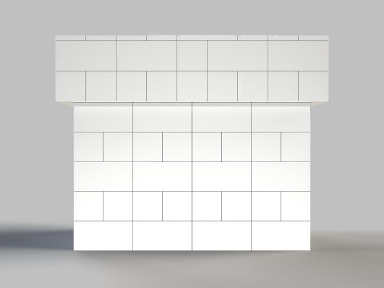 122 cm Bar/Tresen, obere 2 Reihen rundum überstehend - Frontansicht