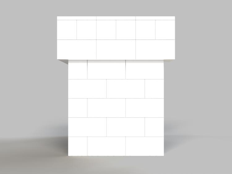 122 cm Bar/Tresen, obere 2 Reihen rundum überstehend - Seitenansicht