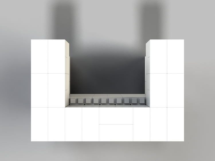 122 cm Bar/Tresen, obere 2 Reihen rundum überstehend - Ansicht von oben
