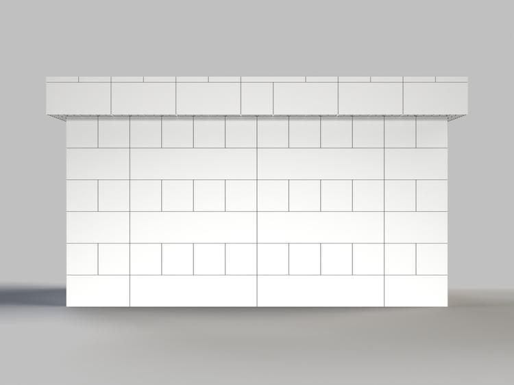 183 cm, obere Reihe rundum überstehend - Frontansicht