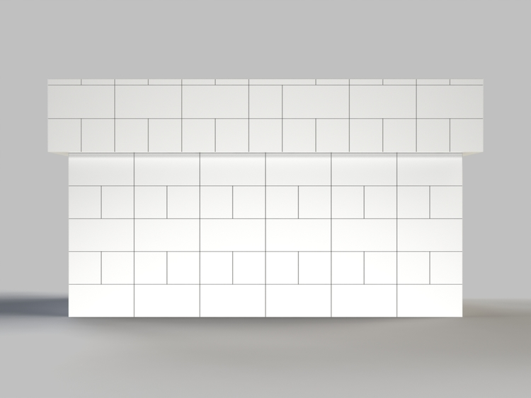 183 cm, obere 2 Reihen rundum überstehend - Frontansicht