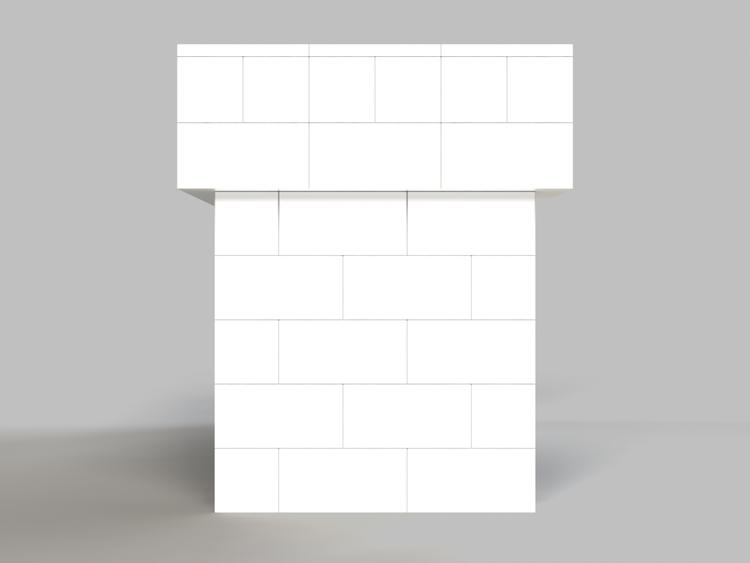183 cm, obere 2 Reihen rundum überstehend - Seitenansicht