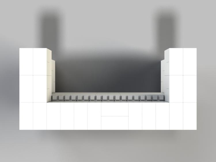 183 cm, obere 2 Reihen rundum überstehend - Ansicht von oben
