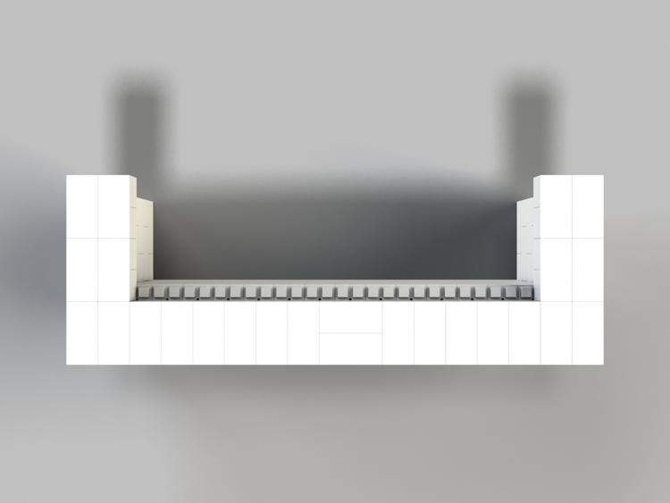 244 cm, obere Reihe rundum überstehend - Ansicht von oben