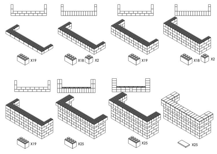 244 cm, obere 2 Reihen rundum überstehend - Schritt-für-Schritt Instruktionen