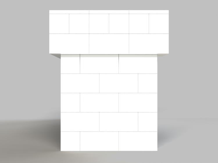 244 cm, obere 2 Reihen rundum überstehend - Seitenansicht