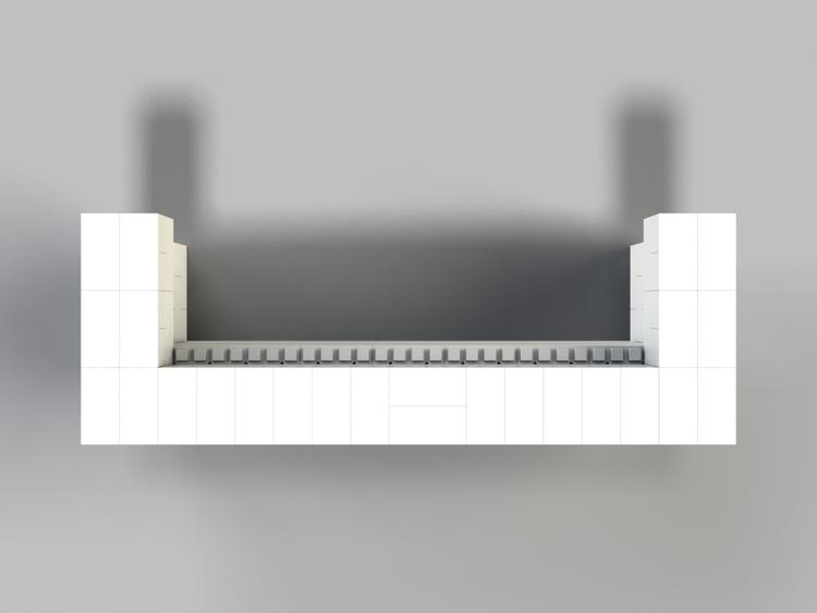 244 cm, obere 2 Reihen rundum überstehend - Ansicht von oben