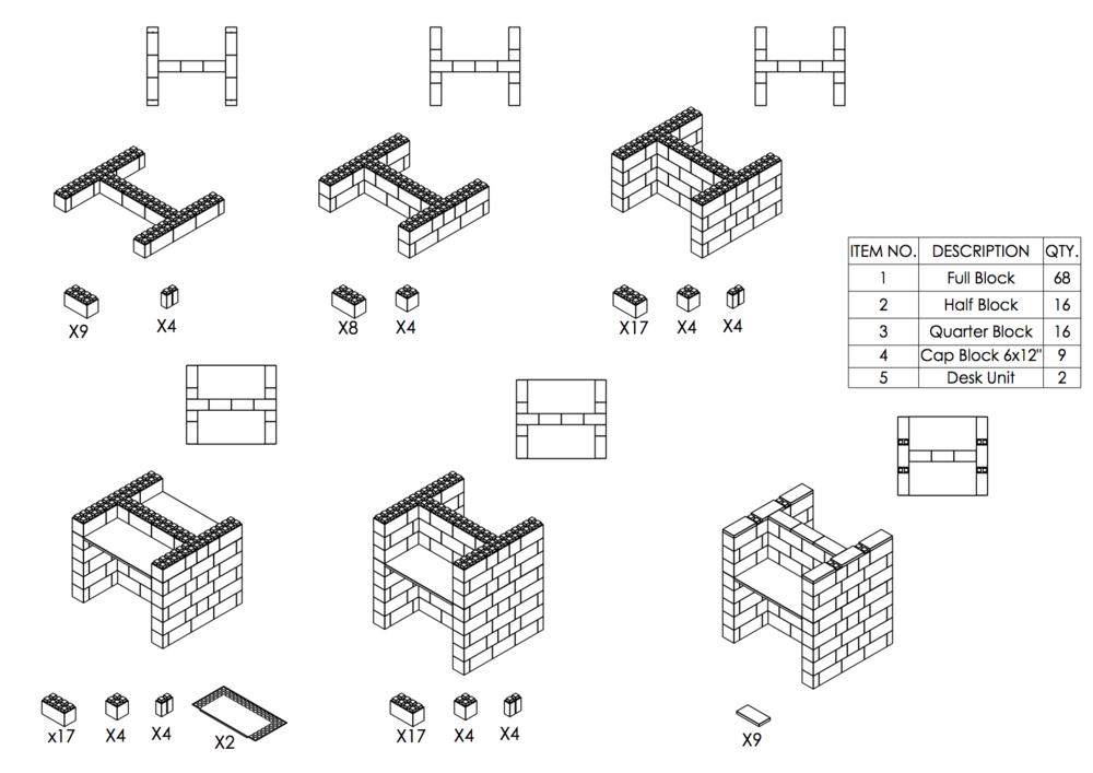 Doppel-Schreibtisch-Kombination - Schritt-für-Schritt Instruktionen