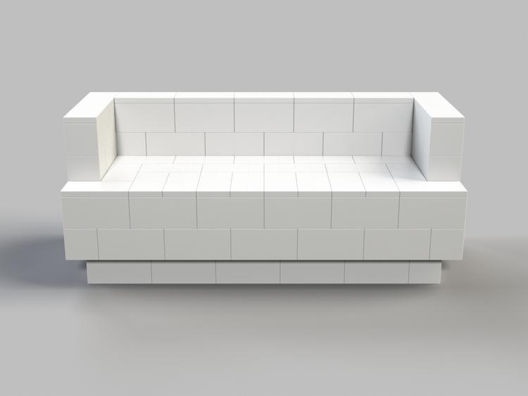 182 cm Sofa mit Überstand - Vorderansicht