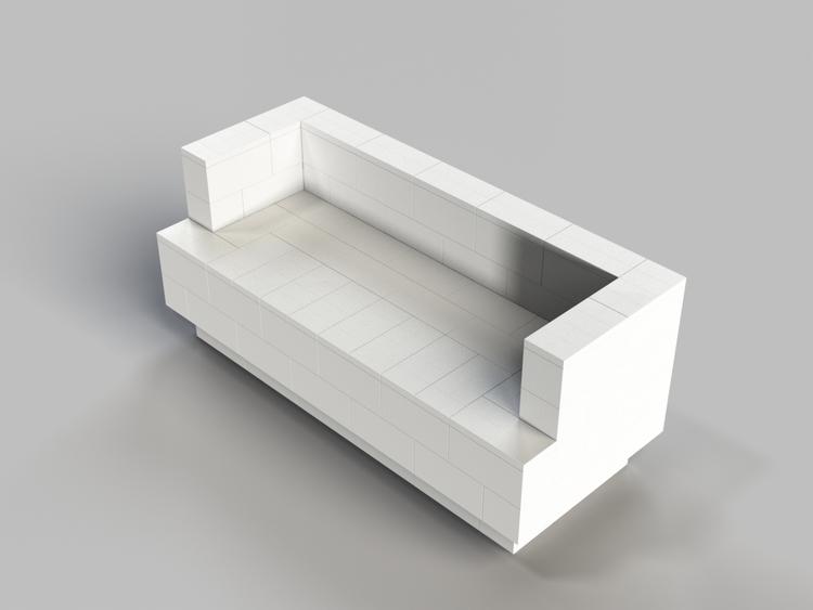 182 cm Sofa mit Überstand