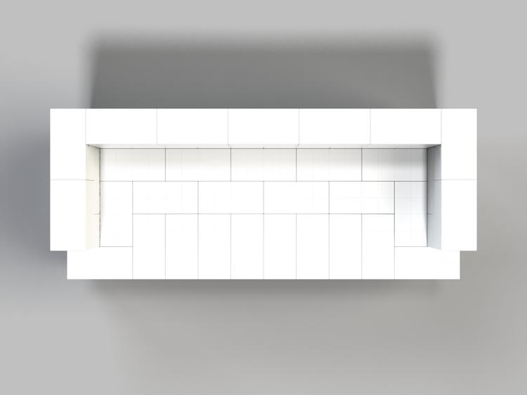 182 cm Sofa mit Überstand - Ansicht von oben