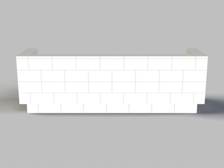 244 cm Sofa mit Überstand - Rückansicht