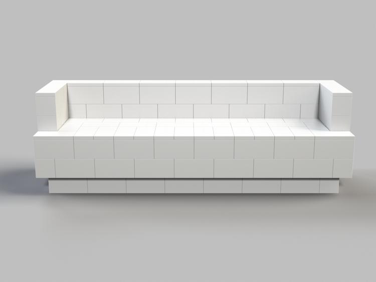 244 cm Sofa mit Überstand - Vorderansicht