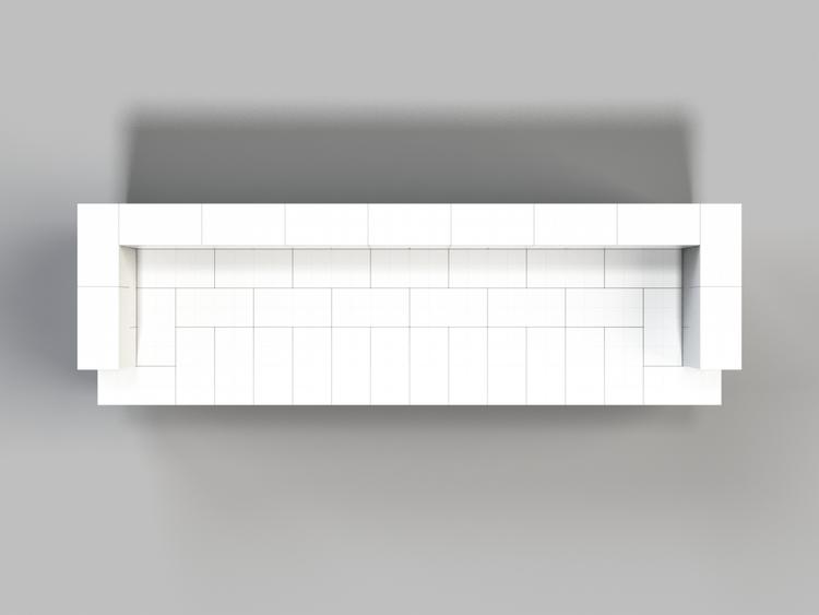 244 cm Sofa mit Überstand - Ansicht von oben